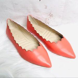 ADRIENNE VITTADINI Scalloped Leather Comfort Flat